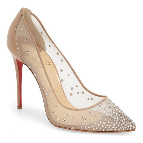 CHRISTIAN LOUBOUTIN follies strass pointy toe pump - Tiny glass crystals lightly frost the sheer mesh upper of a...