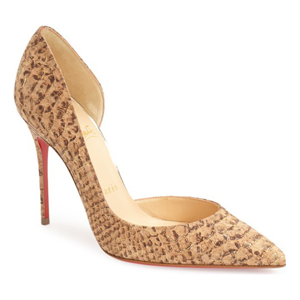 CHRISTIAN LOUBOUTIN iriza dorsay pump - A metallic dusting highlights the snake-embossed cork...