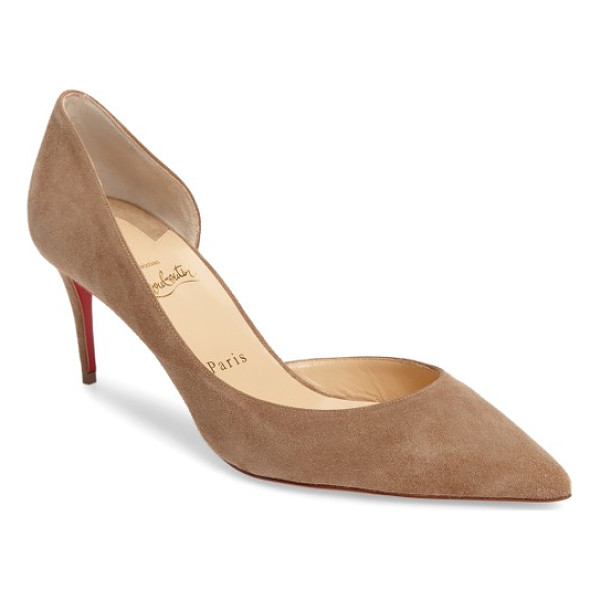CHRISTIAN LOUBOUTIN iriza half d'orsay pump - Crafted in velvety suede, this chic, coy pump pairs a...