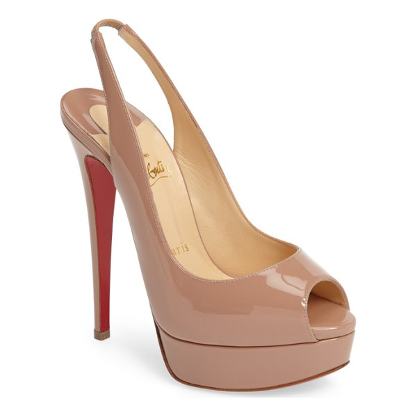 CHRISTIAN LOUBOUTIN lady slingback pump - A patent peep-toe pump with a towering stiletto heel is...