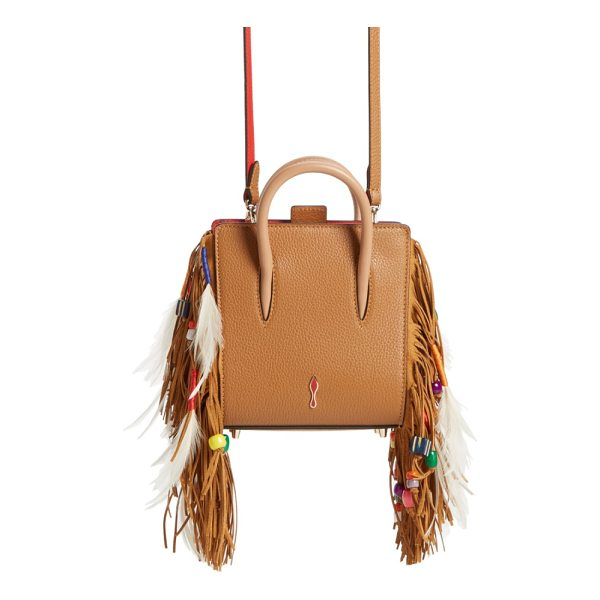 CHRISTIAN LOUBOUTIN paloma nano calfskin tote - Lavish fringe, entwined with feathers and beads, lines the...
