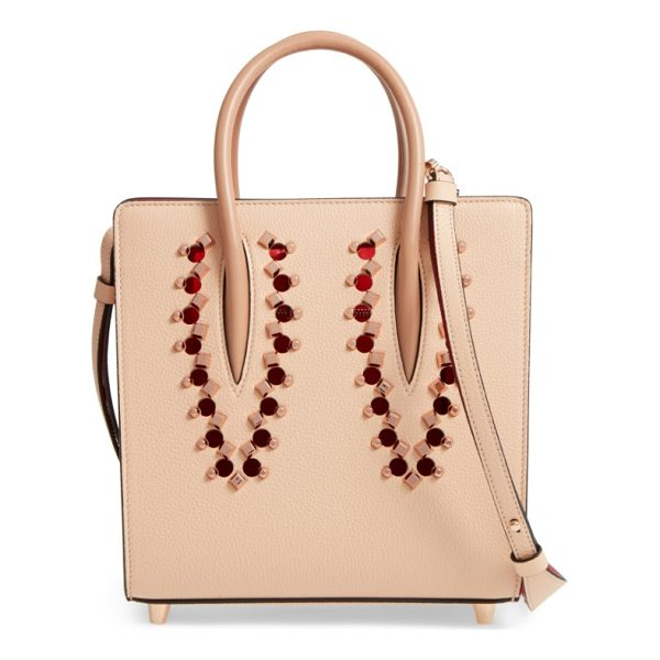 CHRISTIAN LOUBOUTIN small paloma empire leather tote - Rose goldtone studs and circular cutouts add playful punch...