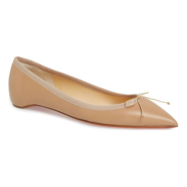 CHRISTIAN LOUBOUTIN 'solasofia' pointy toe flat - Grosgrain trim and a dainty bow detail bring understated...