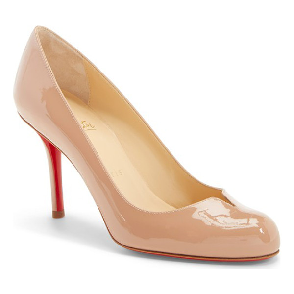 CHRISTIAN LOUBOUTIN 'sophia regina' notched round toe pump - A slightly flared, notched topline punctuates the gleaming...