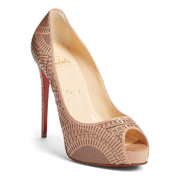 CHRISTIAN LOUBOUTIN suellena laser cut peep toe pump - Intricately laser-cut patent leather overlays a dusting of...