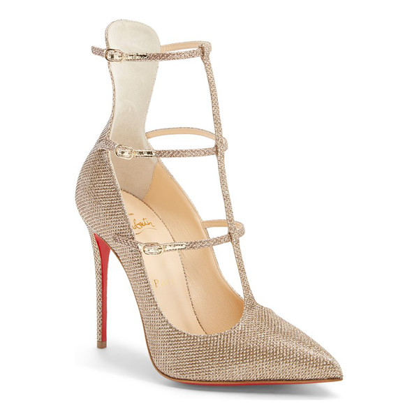 CHRISTIAN LOUBOUTIN toeless caged pointy toe pump - A generous dusting of golden glitter illuminates the...