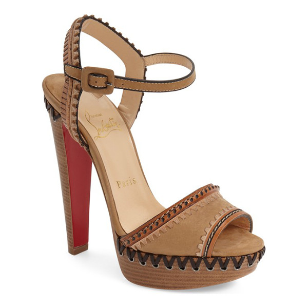CHRISTIAN LOUBOUTIN trepi sandal - Smooth calfskin leather in a chic natural hue is...