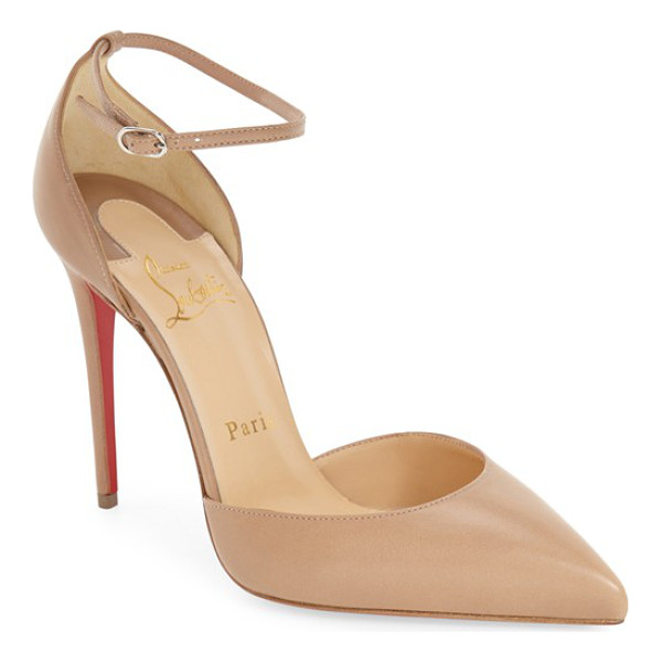 CHRISTIAN LOUBOUTIN uptown ankle strap pointy toe pump - A slim stiletto heel and a daring, low-cut topline heighten...