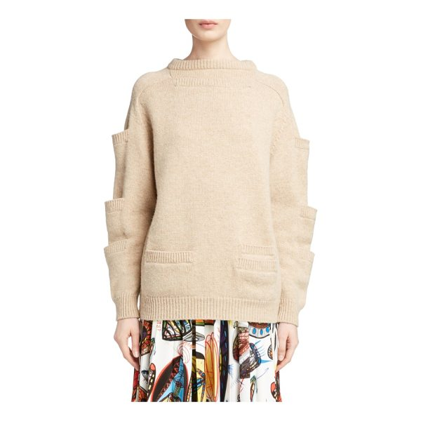CHRISTOPHER KANE sleeve pocket wool sweater - Stacked patch pockets ladder up the sleeves of a soft,...