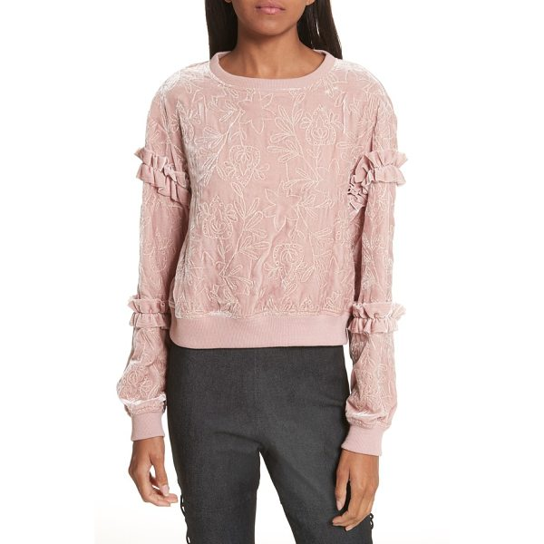 CINQ A SEPT nara embroidered velvet sweatshirt - Plush velvet adds luxe texture to this sporty silk-kissed...
