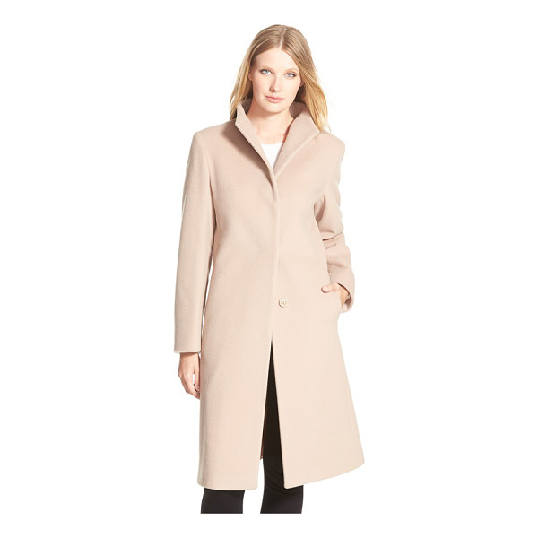CINZIA ROCCA DUE funnel collar wool blend long coat - An elegantly long length lends polish to a minimalist coat...