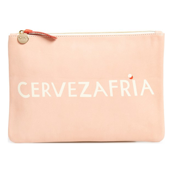 CLARE V. Cervezafria lambskin leather zip clutch - This flat clutch inspired by hand-painted signage in LA can...