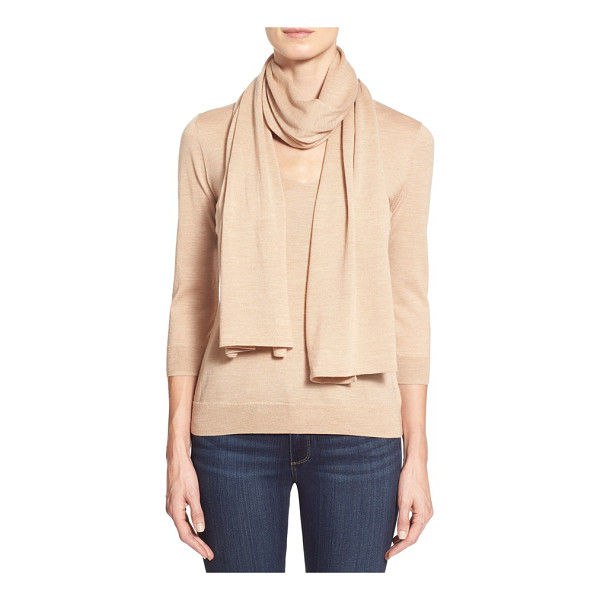 CLASSIQUES ENTIER v-neck merino sweater with detachable scarf - A long lush scarf, to tie or drape as you wish, lends...