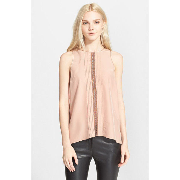 CLOVER CANYON sleeveless top - An elegant inset of openwork crochet framed with bands of...