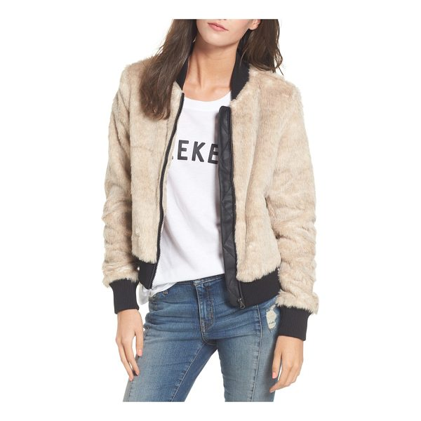 COFFEE SHOP faux fur bomber jacket - The season's must-have bomber jacket gets a glam update in...