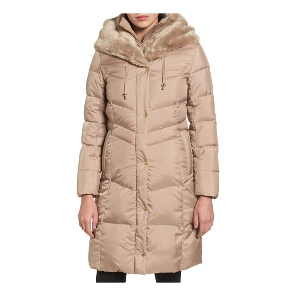 COLE HAAN 3/4 down coat with faux fur hood - Silky faux fur lines an adjustable hood in luxe softness,...