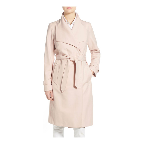COLE HAAN belted long trench coat - Iconic trench styling takes a turn for the feminine in a...