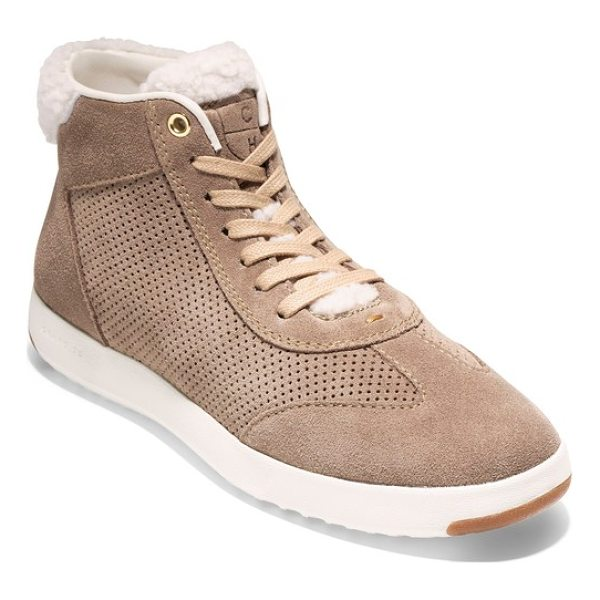 COLE HAAN grandpro high top sneaker - Soft leather updates a classic high-top sneaker designed...