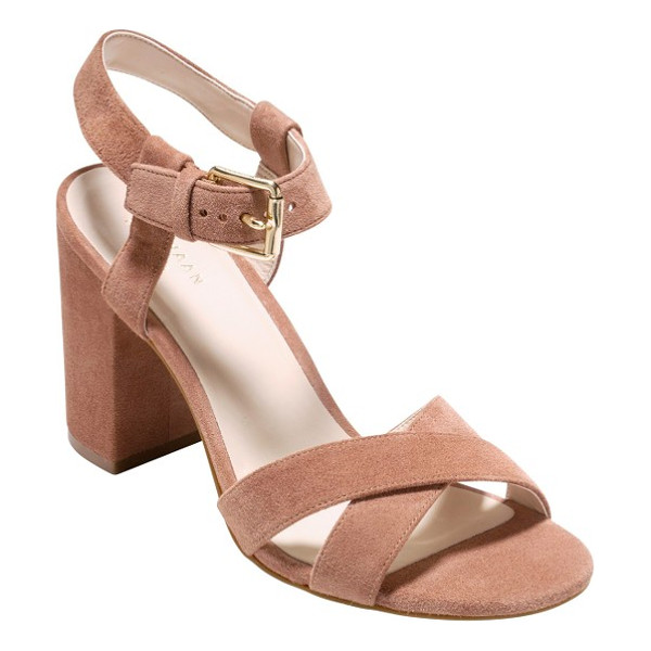 COLE HAAN kadi ankle strap sandal - A vintage-inspired sandal with a trend-savvy wrapped block...