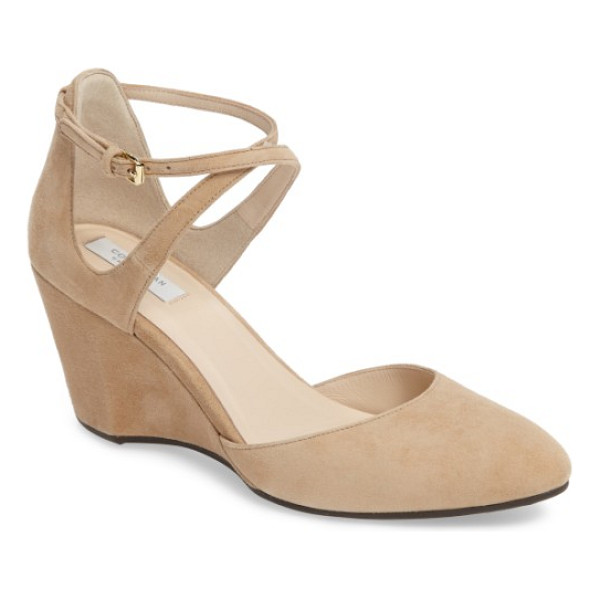 COLE HAAN lacey ankle strap wedge pump - An architectural wedge heel adds a style boost to a lush...