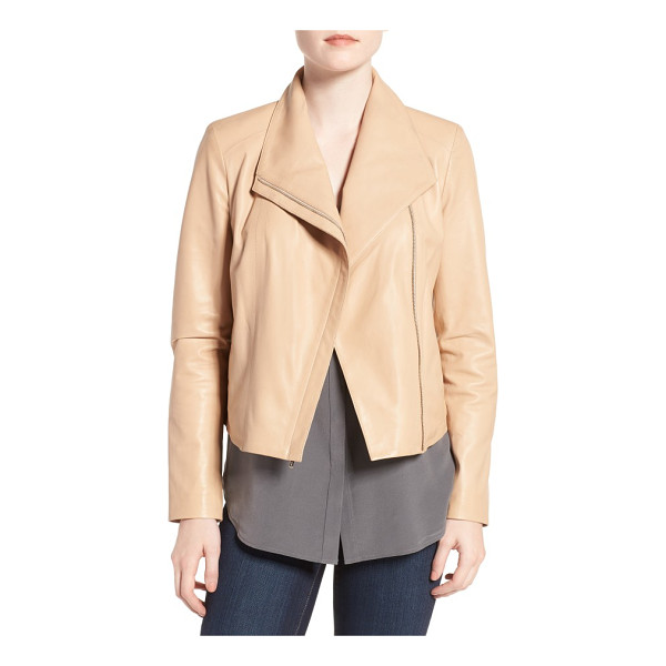 COLE HAAN modern lambskin leather moto jacket - Beautifully transitioning into warmer weather, a...