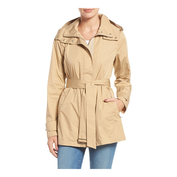 COLE HAAN packable belted rain coat - A lightweight jacket features a hood zipped into the tall...