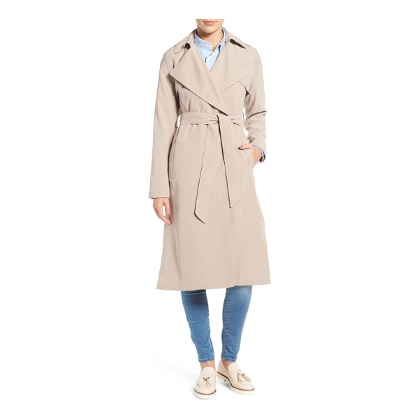 COLE HAAN SIGNATURE long drapey trench coat - Iconic trench styling takes a turn for the feminine in a...