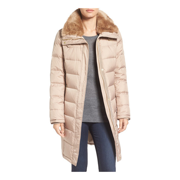 COLE HAAN water repellent down & feather coat with faux fur collar - When chilly weather strikes, wrap yourself in the toasty...