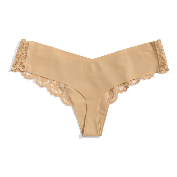 COMMANDO tulip lace trim thong - Antique-inspired lace romances an ultra-comfortable...