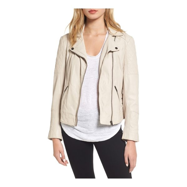 CUPCAKES AND CASHMERE darby leather moto jacket - Creamy, supple leather puts a soft spin on a moto-chic...