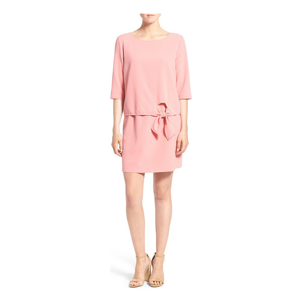 CUPCAKES AND CASHMERE tenley shift dress - A three-quarter-sleeve bodice with an elegantly tied bow...