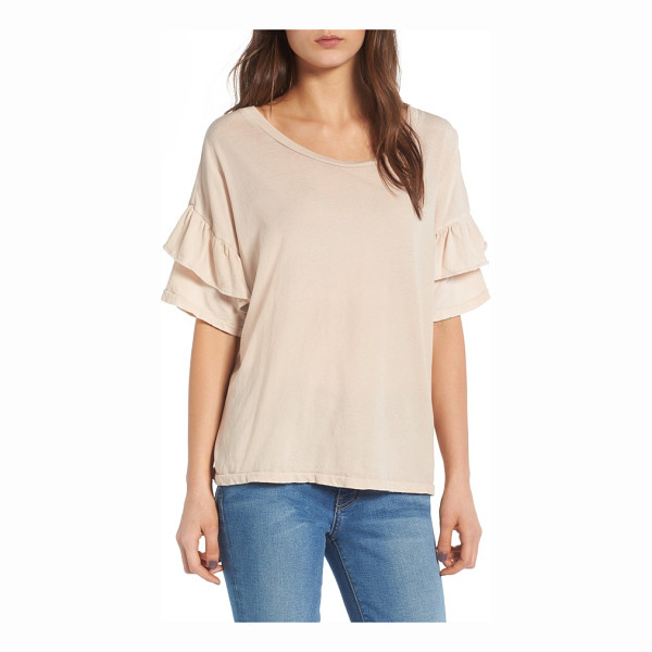 CURRENT/ELLIOTT the ruffle roadie tee - Flounced ruffle sleeves add a flirty touch to a soft,...