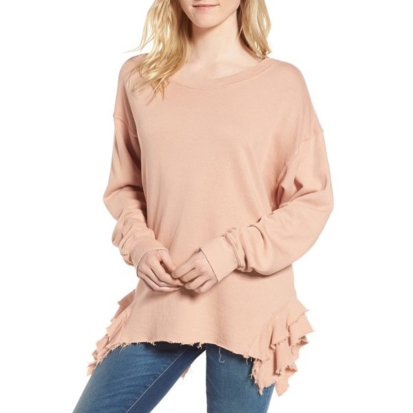 CURRENT/ELLIOTT the slouchy ruffle sweatshirt - Ruffles at each hip dress it up while an oversized fit and...