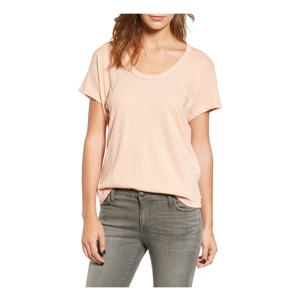 CURRENT/ELLIOTT the slouchy scoop tee - Distressed edges and subtle embellishment add unique...