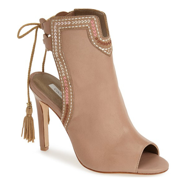 CYNTHIA VINCENT note tassel boot - Embroidered trim and swingy back tassels add rustic...