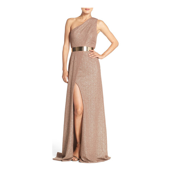 DAVID MEISTER belted metallic knit gown - Glittering rose-gold fabric flows with the asymmetrical...