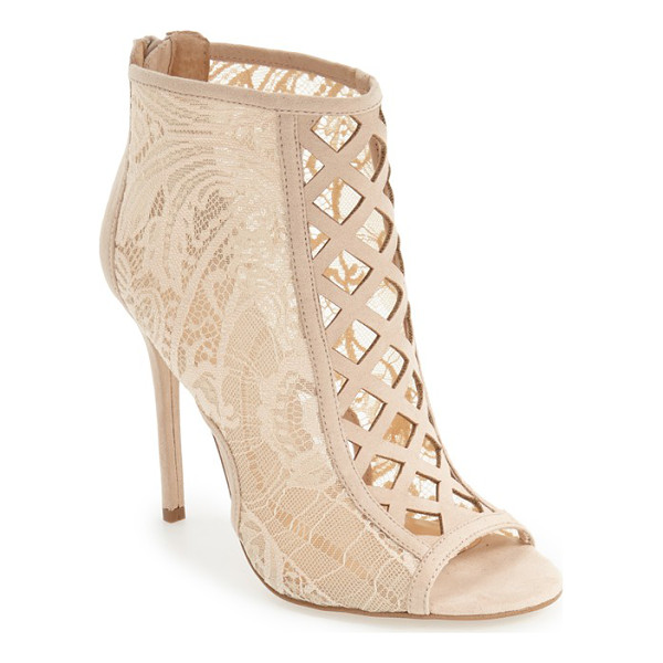 DAYA by zen 'angus' lace open toe bootie - Daring diamond cutouts trellis up the front of a gorgeous...
