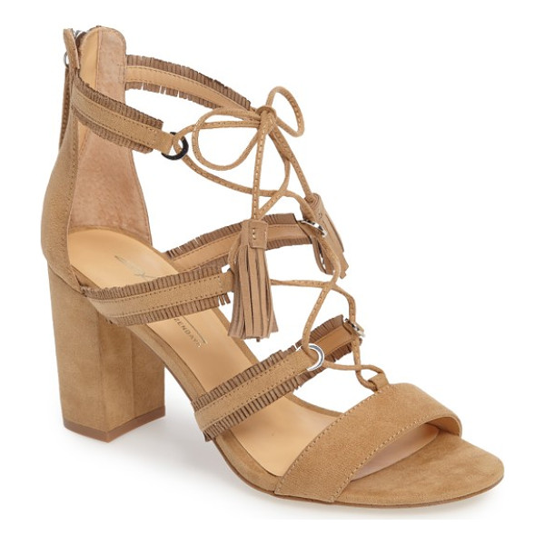 DAYA by zen meadow ghillie fringe sandal - Tasseled ghillie lacing crisscrosses the fringed cage...