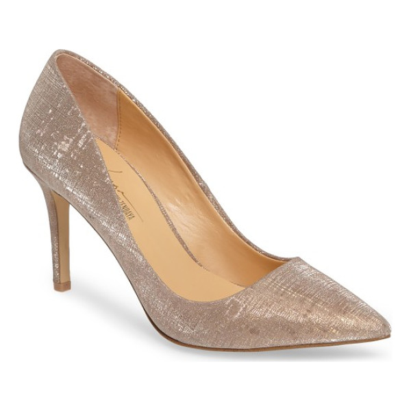 DAYA by zen nycole metallic pump - Shimmery golden fabric adds the Midas touch to a pointy-toe...