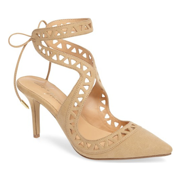 DAYA by zen sutter lace-up pump - Slender straps with triangular cutouts curve up the ankle...