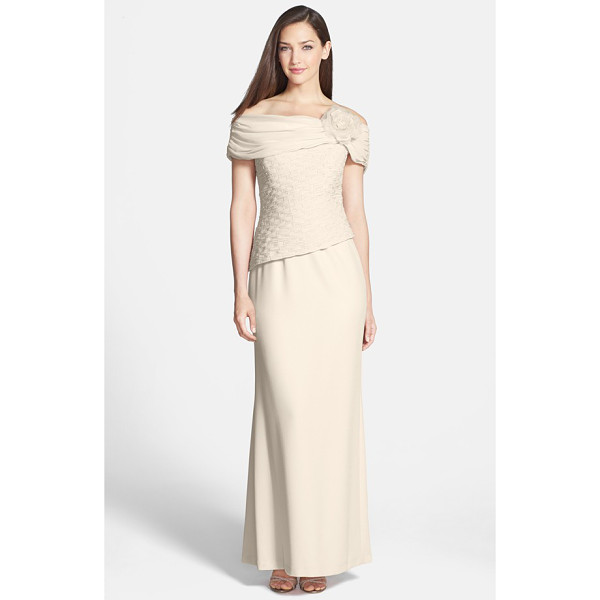DAYMOR off the shoulder chiffon & crepe gown - A flower-adorned off-shoulder neckline and bead-embellished...