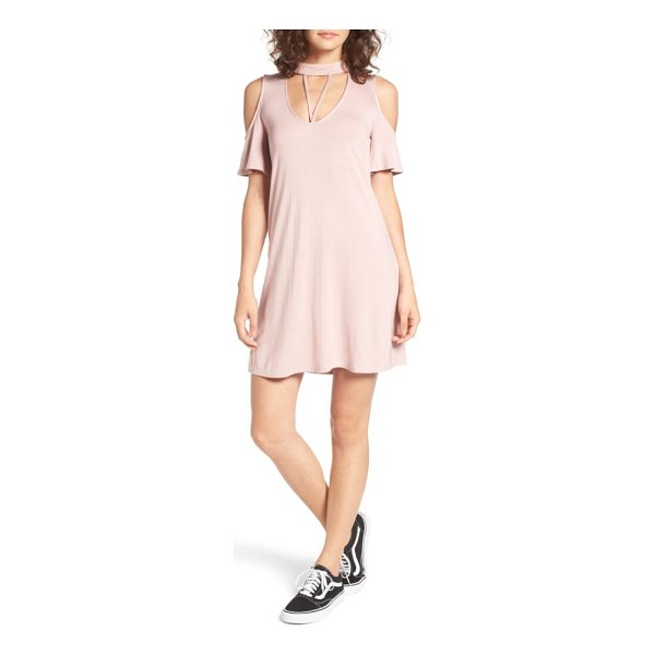 DEE ELLY strappy choker t-shirt dress - A strappy cutout and cold-shoulder short sleeves add...