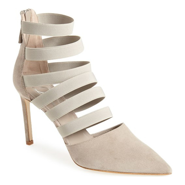 DELMAN bae pointy toe pump - Laddered elastic bands perfect the fit and modernize the...