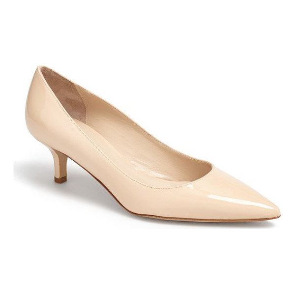 DELMAN belle pointed toe pump - An Italian-crafted pump with a modest kitten heel is shaped...