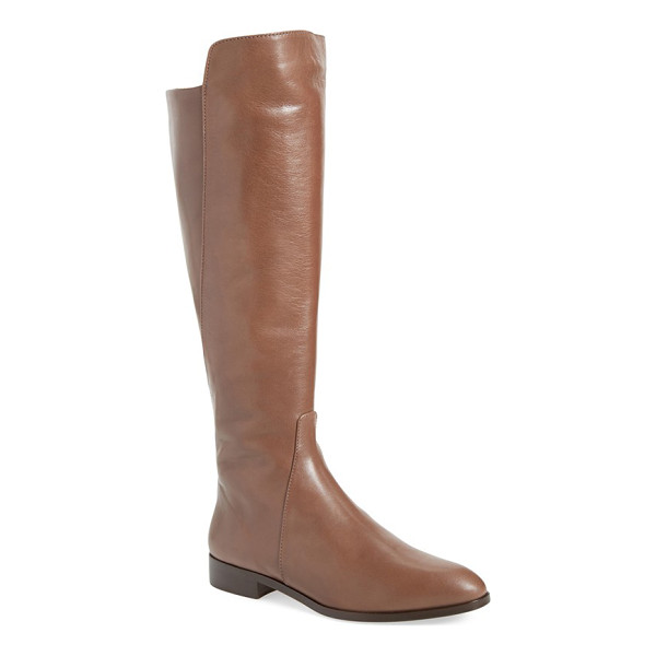 DELMAN buena tall boot - A stepped topline and leather piecing on the calf accent...