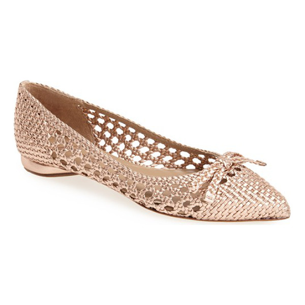 DELMAN shana pointy toe skimmer flat - A pert bow intensifies the modern elegance of a pointy-toe...
