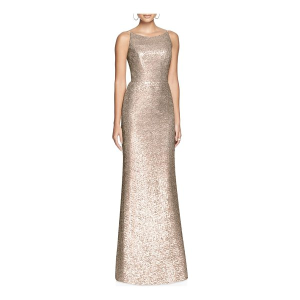 DESSY COLLECTION bateau neck sequin gown - A blushing A-line gown coated with sequin shimmer makes a...