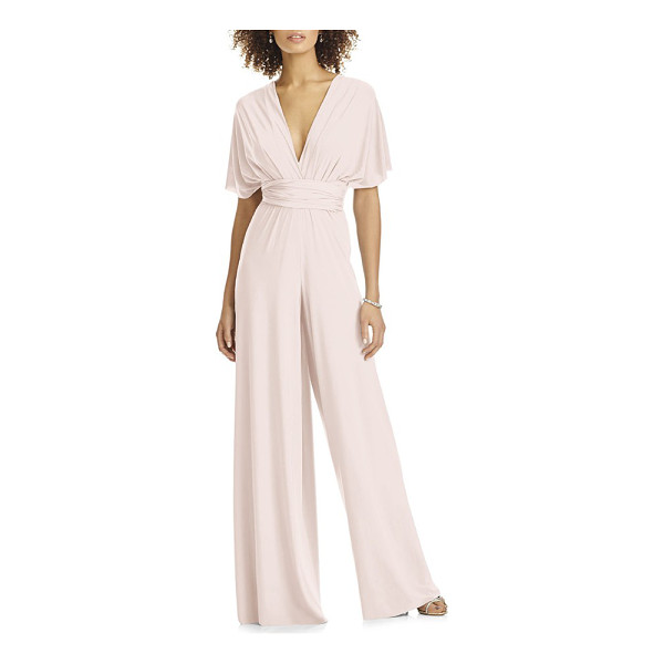 DESSY COLLECTION convertible wide leg jersey jumpsuit - A silky matte-jersey jumpsuit with dramatically billowed...
