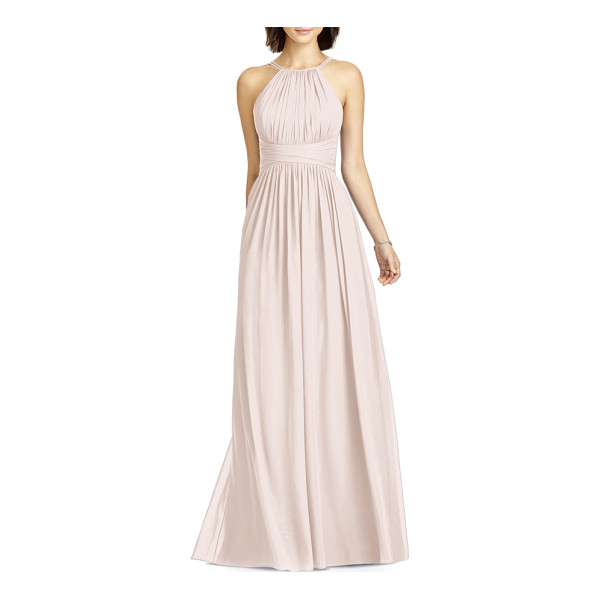 DESSY COLLECTION lux chiffon halter gown - A strappy halter neckline and cutaway shoulders spotlight...