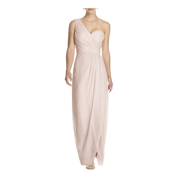 DESSY COLLECTION one-shoulder draped chiffon gown - Meticulous pleating creates rich texture at the...